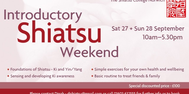 Shiatsu Introductory Weekend September 2014