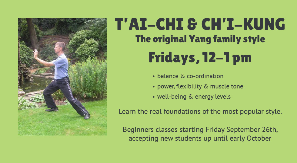 Tai Chi Classes Starting September 26th